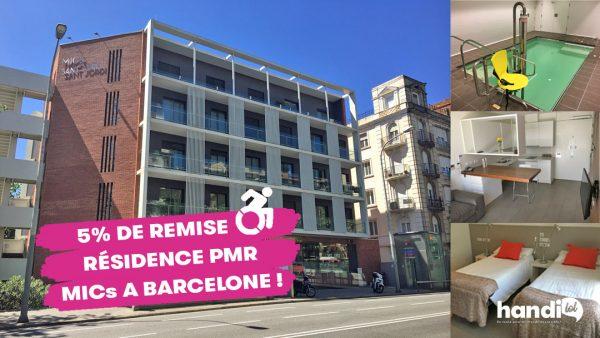 La résidence MICs Sant Jordi dispose de 32 logements accessibles PMR à Barcelone. Appartements adaptés aux fauteuils roulants, matériel médical, soins infirmiers, piscine.